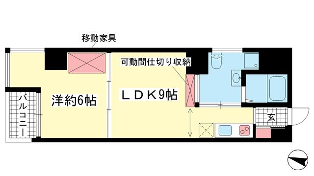 物件番号: 1025868182 BELLTREE御幸通  神戸市中央区御幸通4丁目 1LDK マンション 間取り図