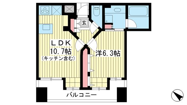 物件番号: 1025868199 ワコーレ元町ベレッツァ  神戸市中央区北長狭通5丁目 1LDK マンション 間取り図