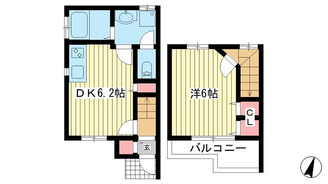 物件番号: 1025868240 ベラビータ  神戸市中央区中島通3丁目 1DK ハイツ 間取り図