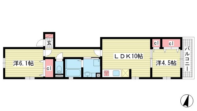 物件番号: 1025868323 パル ヴィレッジ  神戸市中央区旗塚通2丁目 2LDK ハイツ 間取り図