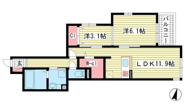 物件番号: 1025868327 パル ヴィレッジ  神戸市中央区旗塚通2丁目 2LDK ハイツ 間取り図