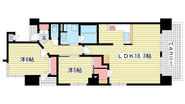 物件番号: 1025868483 ワコーレ元町ハウス  神戸市中央区下山手通6丁目 2LDK マンション 間取り図
