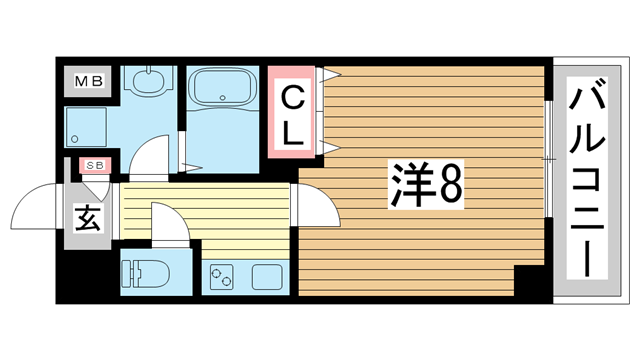 物件番号: 1025868528 リアライズ神戸WEST  神戸市長田区菅原通5丁目 1K マンション 間取り図