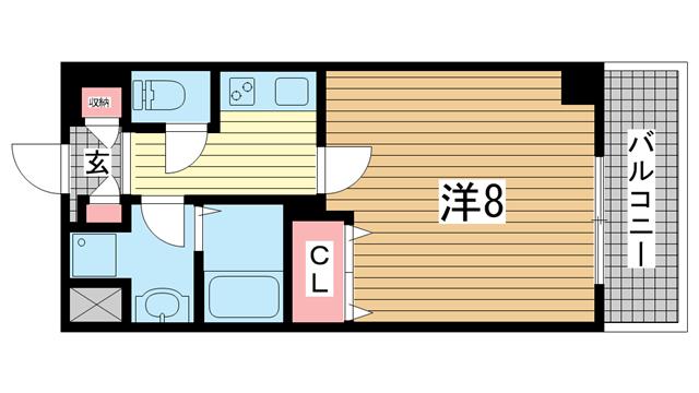 物件番号: 1025868556 リアライズ神戸WEST  神戸市長田区菅原通5丁目 1K マンション 間取り図