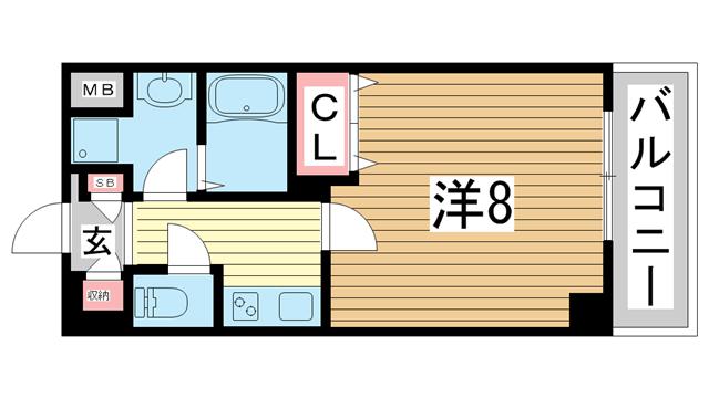 物件番号: 1025868574 リアライズ神戸WEST  神戸市長田区菅原通5丁目 1K マンション 間取り図