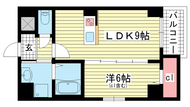 物件番号: 1025868633 ラフェリシア海岸通  神戸市中央区海岸通6丁目 1LDK マンション 間取り図