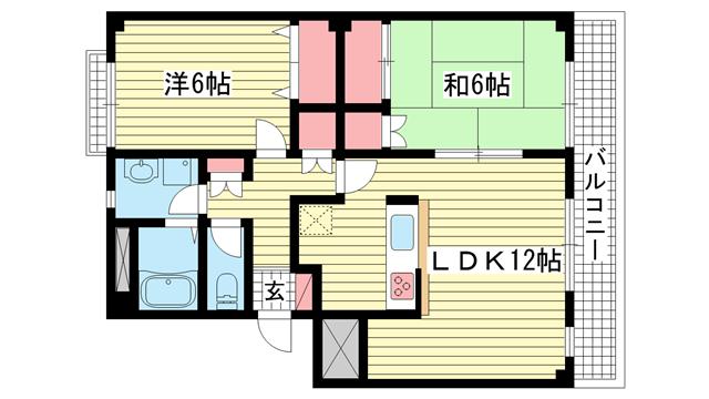物件番号: 1025868652 ロイヤル諏訪山  神戸市中央区山本通4丁目 2LDK マンション 間取り図
