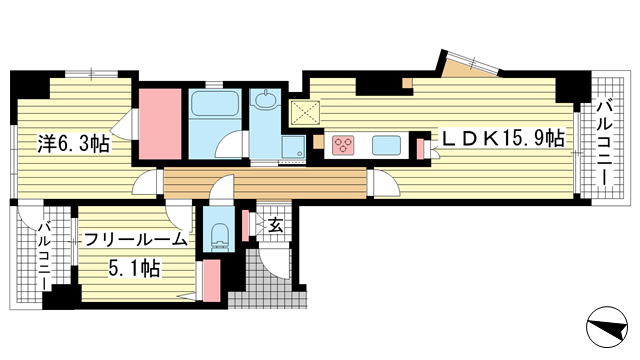 物件番号: 1025868655 ワコーレ中山手I.C.  神戸市中央区中山手通4丁目 2LDK マンション 間取り図