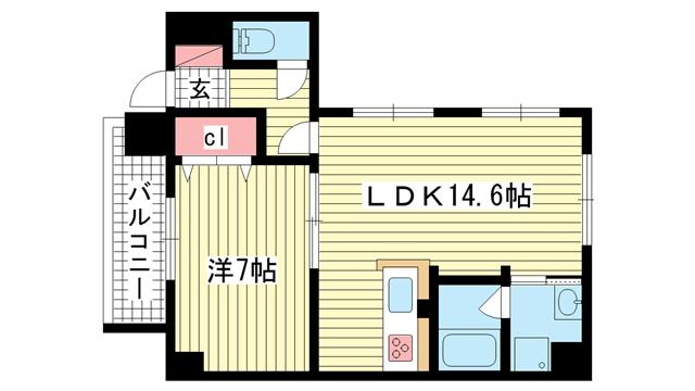 物件番号: 1025868657 コウベアーバンⅢ  神戸市兵庫区塚本通6丁目 2LDK マンション 間取り図