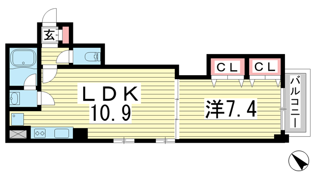物件番号: 1025868727 アミーグランコート三宮  神戸市中央区浜辺通3丁目 1LDK マンション 間取り図