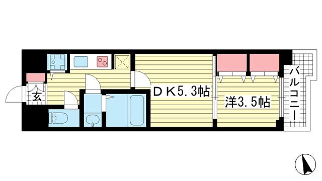 物件番号: 1025868748 LAV☆神戸三宮  神戸市中央区浜辺通4丁目 1DK マンション 間取り図