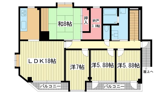 物件番号: 1025868805 サクセス岡本ビル  神戸市東灘区岡本2丁目 4SLDK マンション 間取り図