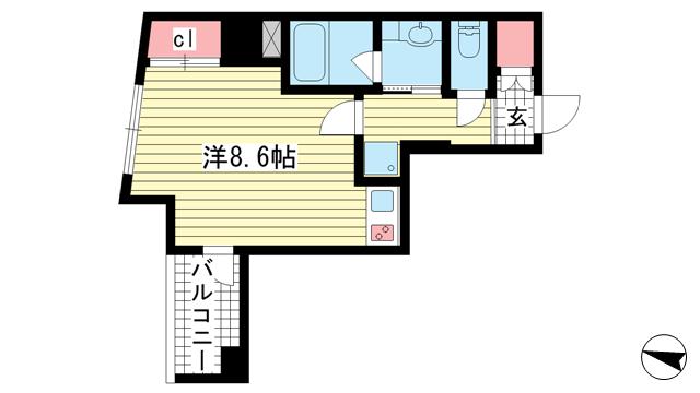 物件番号: 1025868829 Ulysses(ユリシス)新神戸  神戸市中央区生田町1丁目 1R マンション 間取り図