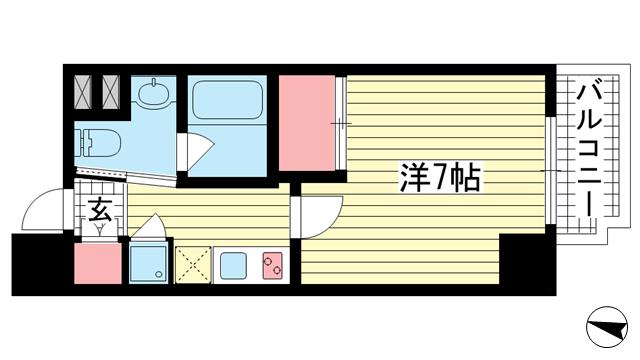 物件番号: 1025868833 Ulysses(ユリシス)新神戸  神戸市中央区生田町1丁目 1K マンション 間取り図