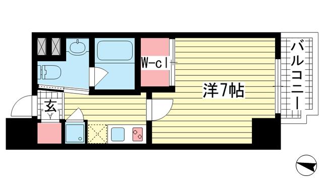 物件番号: 1025868839 Ulysses(ユリシス)新神戸  神戸市中央区生田町1丁目 1K マンション 間取り図