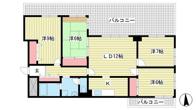 物件番号: 1025868954 ワコーレアルテ中山手  神戸市中央区中山手通3丁目 4LDK マンション 間取り図