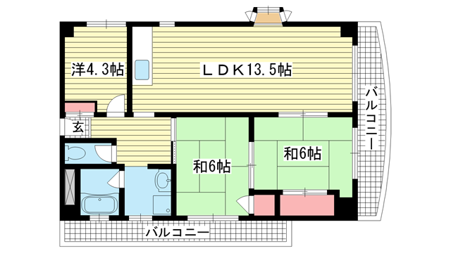 物件番号: 1025868958 グランドメゾン中山手  神戸市中央区中山手通4丁目 3LDK マンション 間取り図