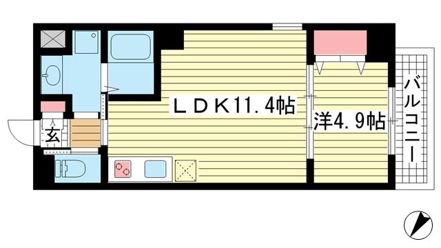 物件番号: 1025869015 アルカディア  神戸市中央区東雲通1丁目 1LDK マンション 間取り図