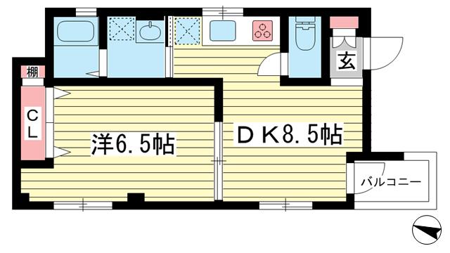 物件番号: 1025869088 リーフハイツ  神戸市中央区雲井通3丁目 1LDK マンション 間取り図