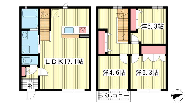 物件番号: 1025869290 Eclore御影  神戸市東灘区住吉山手4丁目 3LDK アパート 間取り図
