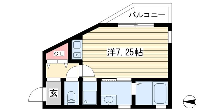 物件番号: 1025869357 ERコート楠町Ⅱ  神戸市中央区楠町8丁目 1R ハイツ 間取り図
