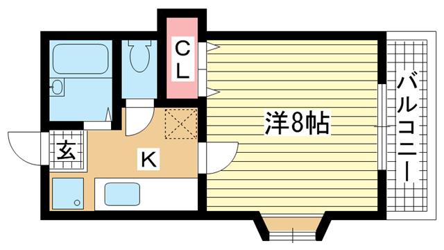 物件番号: 1025869404 タウンコート キク  神戸市中央区生田町1丁目 1R マンション 間取り図