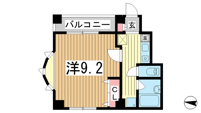 物件番号: 1025869434 ヴィラ神戸Ⅲ  神戸市中央区国香通5丁目 1K マンション 間取り図
