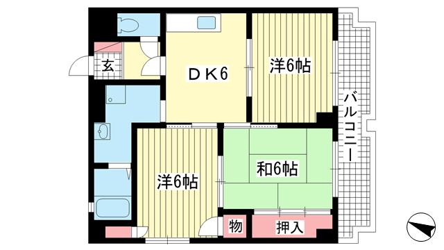 物件番号: 1025869453 日の出ビル  神戸市兵庫区上沢通7丁目 3DK マンション 間取り図
