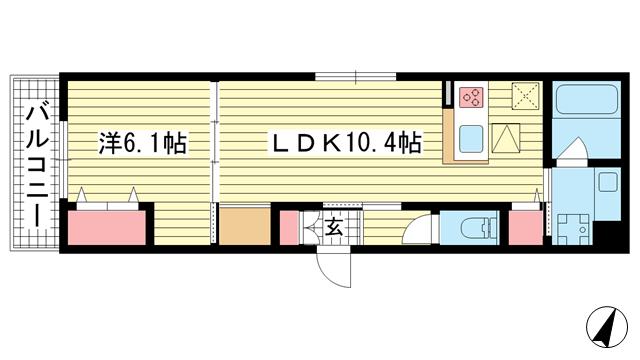 物件番号: 1025869520 レリアンファミリオⅢスミノ  神戸市中央区中島通2丁目 1LDK アパート 間取り図