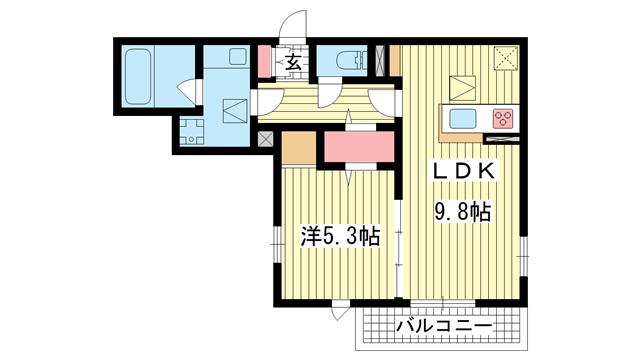 物件番号: 1025869522 レリアンファミリオⅢスミノ  神戸市中央区中島通2丁目 1LDK アパート 間取り図