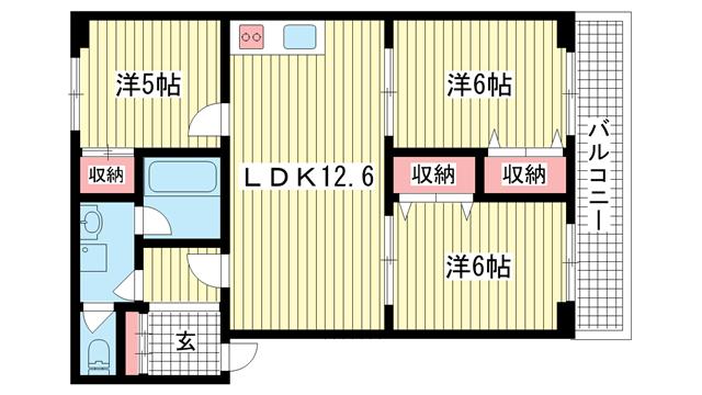 物件番号: 1025869533 ラムール籠池  神戸市中央区籠池通3丁目 3LDK マンション 間取り図