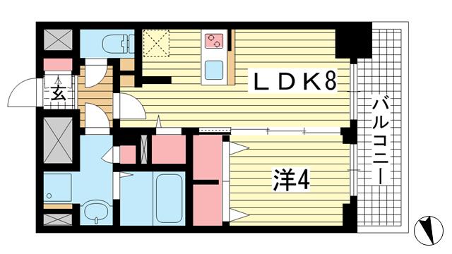 物件番号: 1025869536 プレサンスジェネ新神戸ステーションフロント  神戸市中央区布引町1丁目 1LDK マンション 間取り図