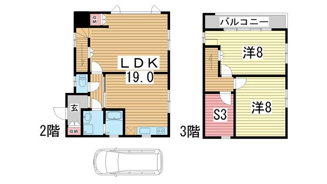 物件番号: 1025869653 熊内町8丁目貸家  神戸市中央区熊内町8丁目 2SLDK 貸家 間取り図