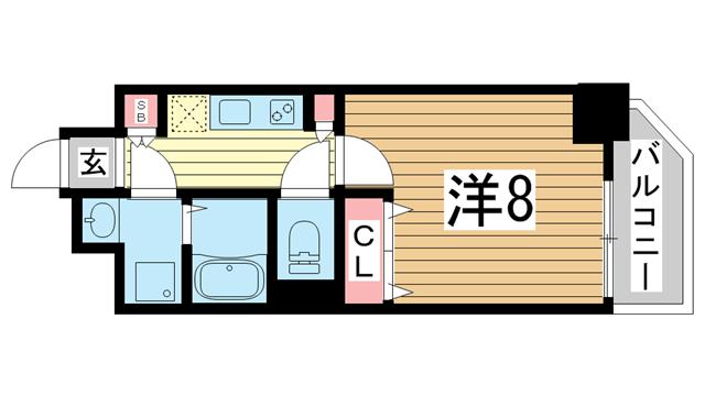 物件番号: 1025869664 レジデンス三宮東グルーブ  神戸市中央区南本町通5丁目 1K マンション 間取り図