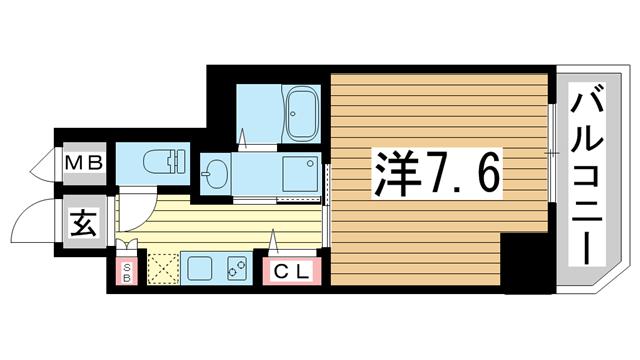 物件番号: 1025869670 レジデンス三宮東グルーブ  神戸市中央区南本町通5丁目 1K マンション 間取り図