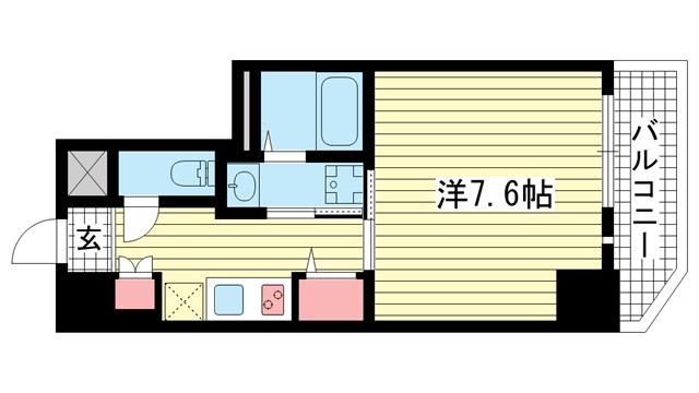物件番号: 1025869674 レジデンス三宮東グルーブ  神戸市中央区南本町通5丁目 1K マンション 間取り図