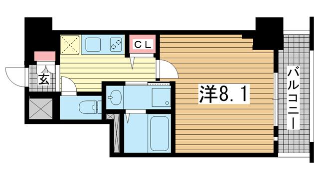 物件番号: 1025869678 レジデンス三宮東グルーブ  神戸市中央区南本町通5丁目 1K マンション 間取り図