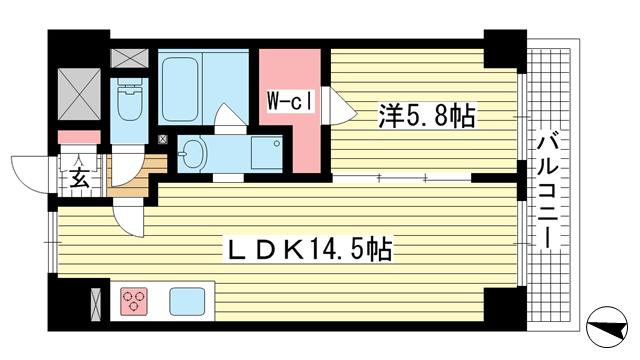 物件番号: 1025869705 シティライフ本山  神戸市東灘区本山南町7丁目 1LDK マンション 間取り図