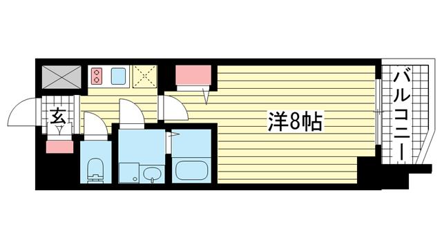 物件番号: 1025869711 プレサンス神戸元町  神戸市中央区北長狭通5丁目 1K マンション 間取り図