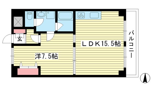物件番号: 1025869742 ステラ田中町  神戸市東灘区田中町2丁目 1LDK マンション 間取り図