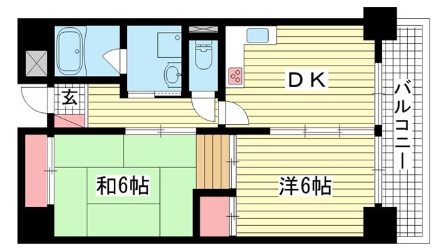 物件番号: 1025869744 ヴィスタ二宮  神戸市中央区琴ノ緒町3丁目 2DK マンション 間取り図