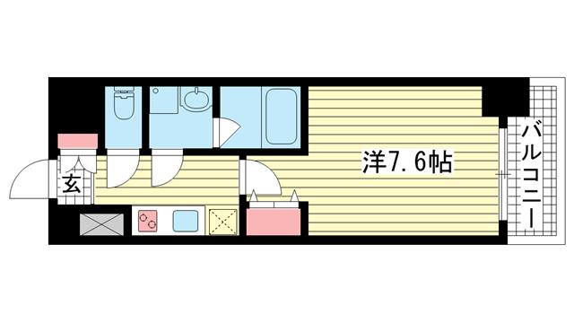 物件番号: 1025869796 スプランディッド神戸北野  神戸市中央区加納町3丁目 1K マンション 間取り図