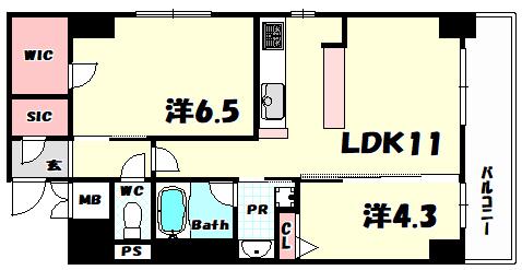 物件番号: 1025869834 スプランディッド神戸北野  神戸市中央区加納町3丁目 2LDK マンション 間取り図