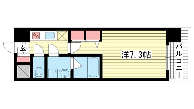 物件番号: 1025869882 スプランディッド神戸北野  神戸市中央区加納町3丁目 1K マンション 間取り図