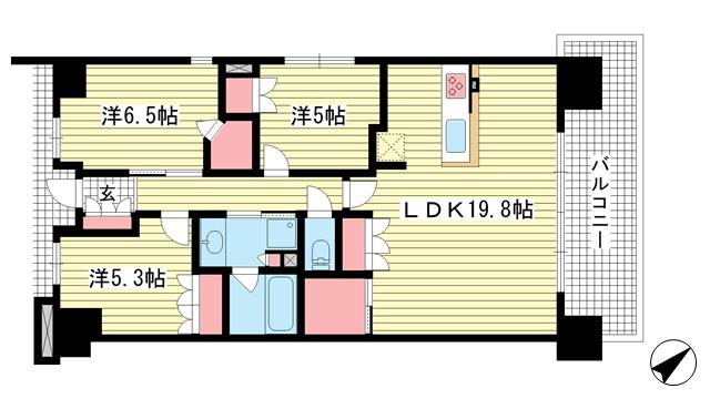 物件番号: 1025869954 ワコーレシティ神戸三宮  神戸市中央区浜辺通6丁目 3LDK マンション 間取り図