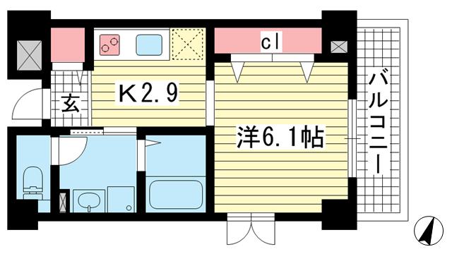 物件番号: 1025870040 アベニューKOBE山本通り  神戸市中央区山本通4丁目 1K マンション 間取り図