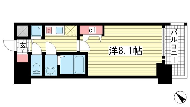 物件番号: 1025870088 プレサンスKOBEグレンツ  神戸市兵庫区新開地3丁目 1K マンション 間取り図