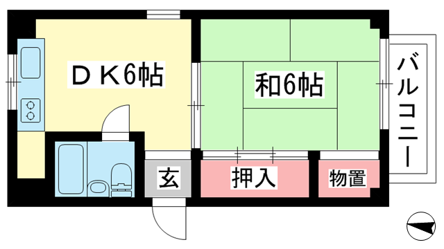 物件番号: 1025870112 ファーストビル  神戸市中央区下山手通4丁目 1DK マンション 間取り図