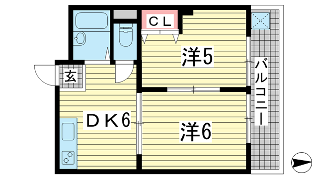 物件番号: 1025870153 グランデF・K  神戸市中央区吾妻通5丁目 1LDK マンション 間取り図