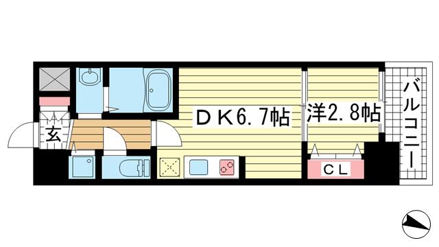 物件番号: 1025870251 セレニテ神戸元町  神戸市中央区海岸通3丁目 1DK マンション 間取り図